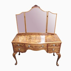 Queen Anne Style Burr Walnut Dressing Table, 1920s