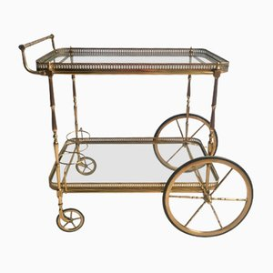 Large Vintage French Brass Drinks Trolley, 1950s