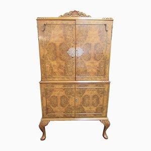 Mueble bar vintage de madera nudosa de nogal, años 20