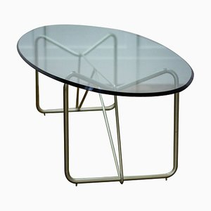 Mid-Century Glass Oval Coffee Table