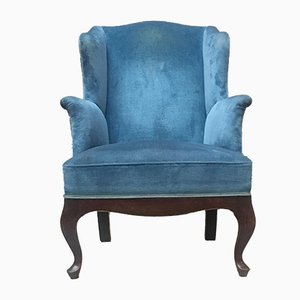 Italian Light Blue Velvet Lounge Chair, 1950s