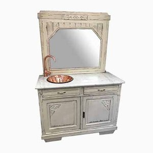 French Solid Oak, Marble & Copper Sink Unit, 1920s
