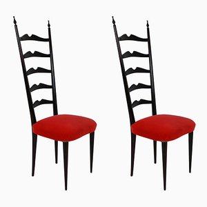 Italienische Mid-Century Beistellstühle mit Gestell aus Holz & Samtsitz von Paolo Buffa, 1940er, 2er Set