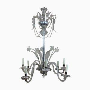 Lámpara de araña italiana vintage de cristal de Murano, años 30