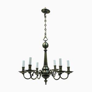 Lámpara de araña francesa antigua de estilo gótico de bronce, década de 1900