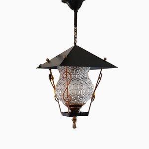 Lámpara de araña francesa de vidrio y latón, años 50