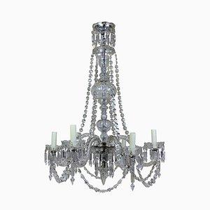 Lámpara de araña inglesa antigua de cristal tallado