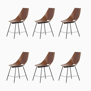 Vintage Bentwood Dining Chairs from Societa Compensato Curvato, 1960s, Set of 6