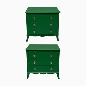 Green Lacquered Dressers, 1970s, Set of 2