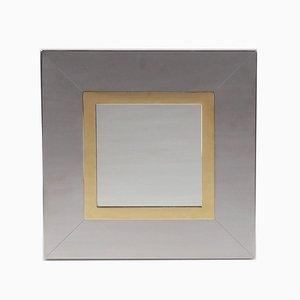 Vintage Chrome & Brass Mirror by Romeo Rega, 1970s