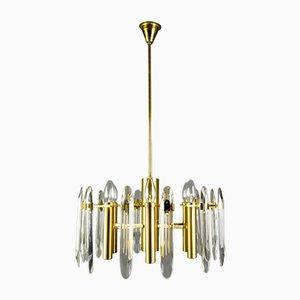 Lámpara de araña de vidrio y latón de Oscar Torlasco para Stilkronen, años 60