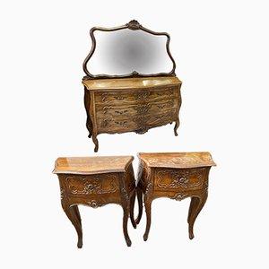 Antique Walnut Dresser and Night Stands, Set of 3