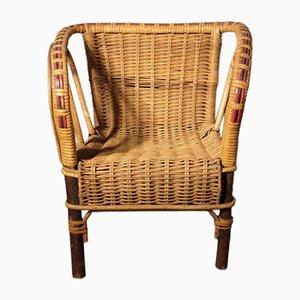 Chaise d'Enfant Vintage en Rotin, 1930s