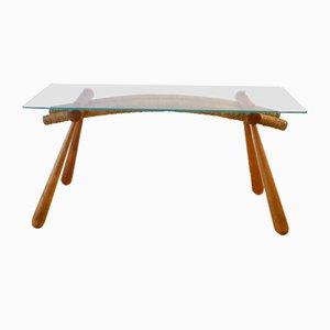 Table d'Appoint Vintage avec Plateau en Verre par Max Kment pour Kunstgewerbliche Werkstätten, années 50