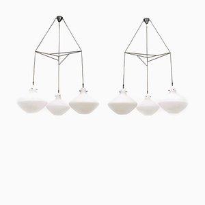 Lampadari a tre luci vintage in vetro di Stilnovo, Italia, anni '50, set di 2