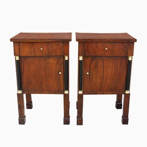 Antique Empire Walnut Nightstands, Set of 2