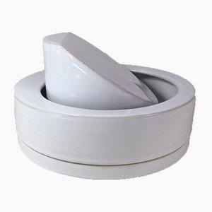 Cenicero vintage de cerámica blanca de Franco Bucci para LP Bucci, años 60