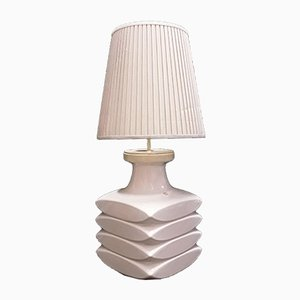 German White Ribbed Ceramic Table Lamp from Fohr-Keramik, 1970s