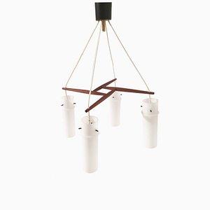 Lampada da soffitto Mid-Century in teak e vetro opalino di Form Leuchten