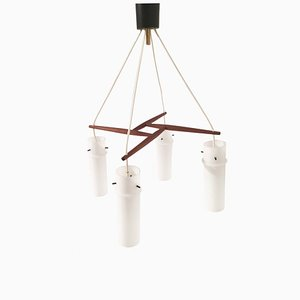 Mid-Century Teak & Opaline Glass Ceiling Lamp from Form Leuchten
