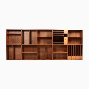 Vintage Walnut Wall-Mounted Bookcases, 1950s, Set of 10