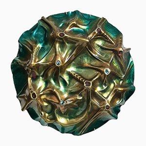 Escultura Luna vintage de cobre esmaltado de Franco Bastianelli, 1966
