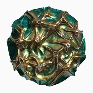 Vintage Enameled Copper Luna Sculpture by Franco Bastianelli, 1966