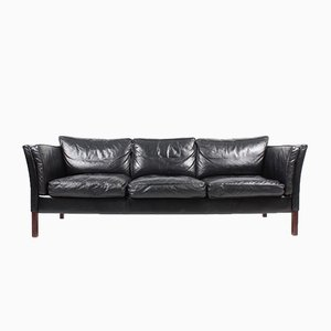 Vintage Danish Patinated Leather 3-Seater Sofa from Stouby, 1980s