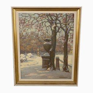 Pintura al óleo vintage de Karl Weickgenannt, años 50