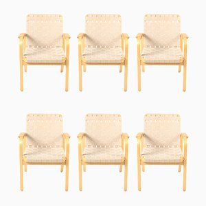 Mid-Century Beech Model 45 Armchairs by Alvar Aalto for Artek, 1960s, Set of 6