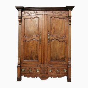 Antique French Walnut & Oak Cabinet