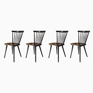 Vintage Scandinavian Black Dining Chairs, 1960s, Set of 4