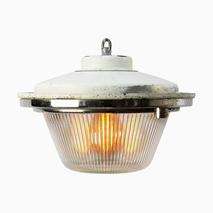 White Metal Pendant Lamp from Holophane, 1950s