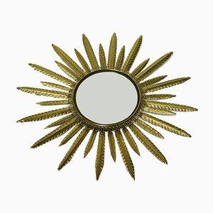Specchio Sunburst in ottone, anni '60
