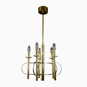 Brass & Glass Chandelier by Gaetano Sciolari for Sciolari, 1970s