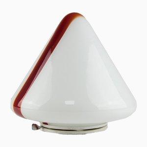 Lampada da soffitto in vetro di Murano bianco e rosso di Renato Toso per Leucos, 1972