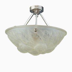 Deckenlampe aus Milchglas von Verrerie des Vosges, 1930er
