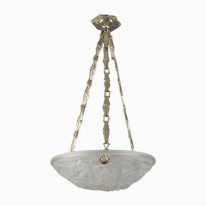 French Art Deco Frosted Glass Chandelier from Verrerie D'Art Degué, 1930s