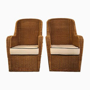 Vintage Rattan Wingback Lounge Chairs, 1950s, Set of 2
