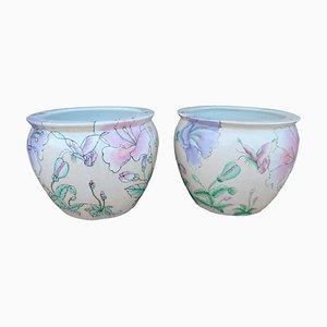 Handbemalte Keramikvasen, 1920er, 2er Set