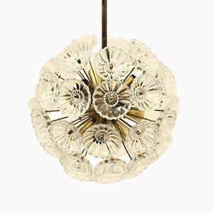 Deckenlampe mit Rahmen aus Messing & Blumen aus Glas, 1970er