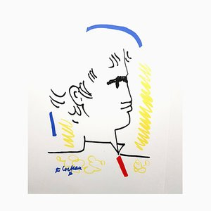 Colorful Portrait Lithograph by Jean Cocteau, 1965