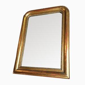 Goldener antiker Spiegel mit Rahmen aus Holz & Gips