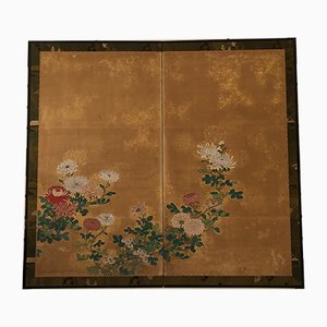 Vintage Japanese Folding Screen, 1950s