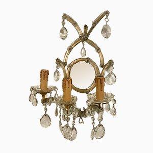 Apliques vintage grandes de cristal con espejo, años 60. Juego de 2