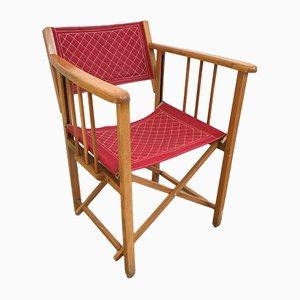Chaise de Réalisateur Pliante Vintage en Tissu Rouge de Clairitex, 1950s