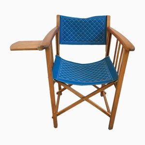 Vintage Blue Fabric Director's Folding Chair from Clairitex, 1950s