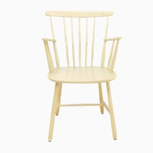 Vintage Swedish Ivory Colored Desk Chair, 1960s