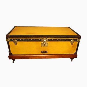 Baule antico in tessuto gialla di Louis Vuitton, inizio XX secolo