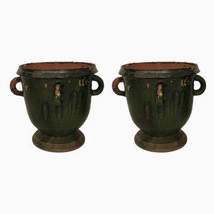 Cache-Pot Vintage en Terracotta, 1950s, Set de 2